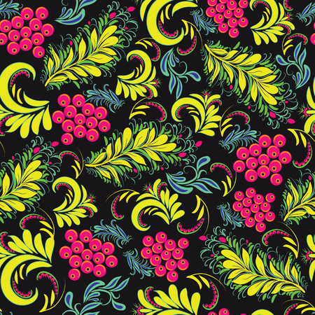 Vector Romantic Floral background in traditional russian style Hohloma traditional ornaments . Vintage seamless pattern folk -illustration