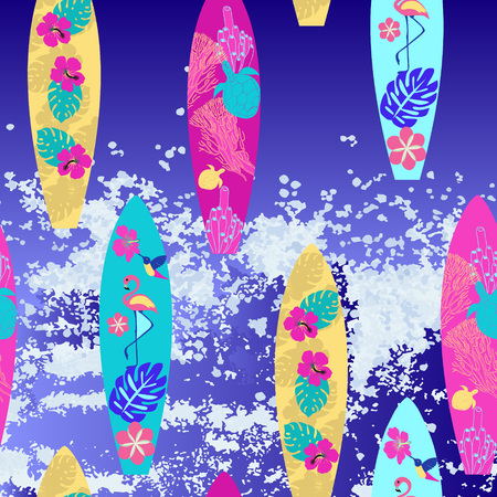 Vector background surfboard seamless pattern. Colorful surfing summertime illustration