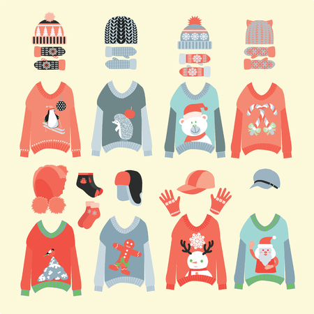 Vector collection of knitted woolen Winter Hats and cute ugly christmas sweaters icon set . Illusztráció