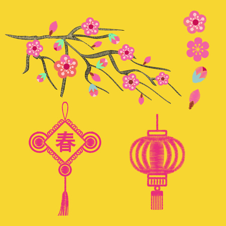 Embroidery blossoms, branch of cherry sakura tree and Chinese new year symbol on a yellow background