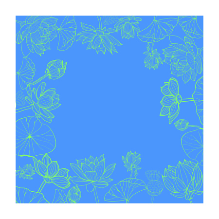Vector hand drawn botanical pattern frame. Lotuses flower with line-art for coloring book or for wrapping paper and space for text.