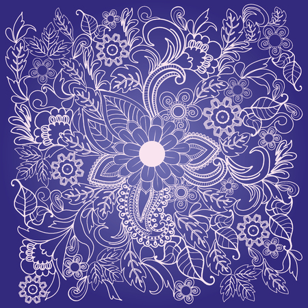 Summer flower ethnic ornament. Hand drawn Floral  with outline hand drawn flowers on a violate background.