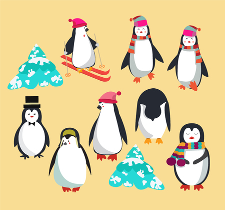 Vector set with cute penguins character,polar penguin illustration for greeting card.