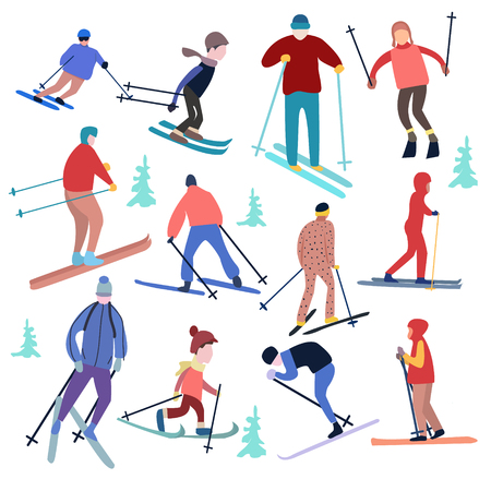 vector illustration people dressed in winter clothing and skiing male and female. Winter vacation concept.  イラスト・ベクター素材