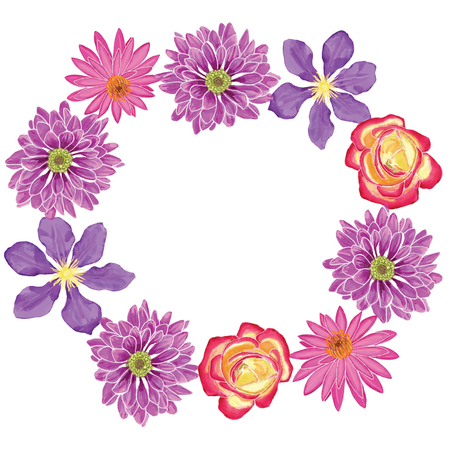 Hand-drawn Watercolor beautiful wreath with flowers blossom clematis, lotus, rose, dahlia in white background.