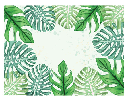 Watercolor illustration of tropical leaves beautiful monstera leaves border frame template on white background with place for text.