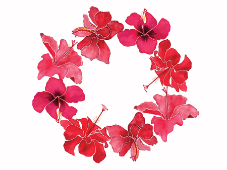 Hand-drawn Watercolor beautiful wreath with flowers blossom hibiscuses in white background. Stock fotó