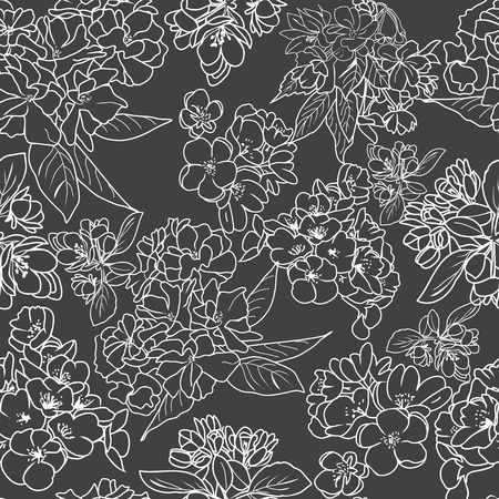 Vector hand drawn seamless pattern  line art of cherry blossom flowers and branch. Ð¡herry blossom outline botanical background.