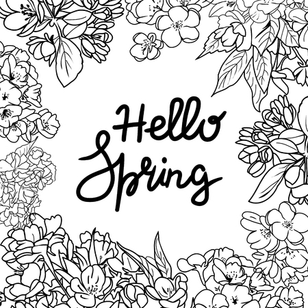 Background with line art of cherry blossom flowers and branch and hello spring text. Greeting card springtime concept.