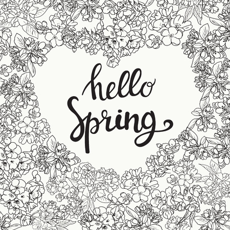 Hand drawing floral background line art frame of heart shape of cherry blossom flowers and hello spring text.