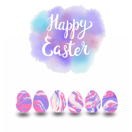 Hand drawn Happy Easter typographic lettering greeting card with Set of pastel colors marbled easter eggs Stock fotó