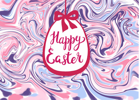 marbed texture with calligraphic inscription Happy Easter in easter egg