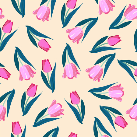 Romantic hand drawn background with tulips. Vintage seamless pattern Tulips spring garden flowers.