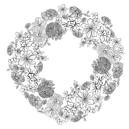 Hand-drawn beautiful wreath with sketch flowers blossom in white background.