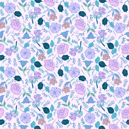 Romantic hand drawn background with flowers. Vintage seamless pattern spring garden flowers in pastel colors.