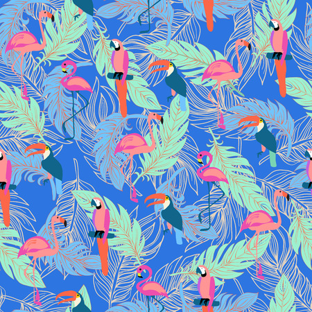 Seamless pattern with exotic tropical birds and Feathers. Boho style Hand drawn tropical background. Illusztráció