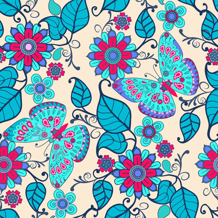 Cute Decorative hand drawn background with floral ornament and butterflies. Vintage seamless pattern spring garden flowers Illusztráció
