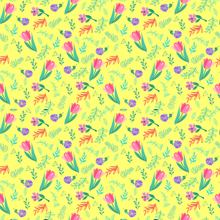 Elegant seamless pattern with tulips and wild flowers, vector illustration