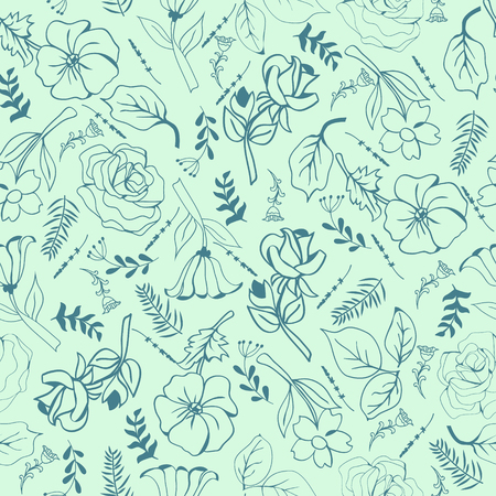 Summer Trendy green blowing Floral pattern in the many kind of flowers. Wild botanical Motifs  seamless vector texture. For fashion prints in hand drawn style background.