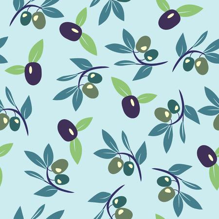 Decorative seamless pattern with ripe black and green olives. Olive branch vector background Illusztráció