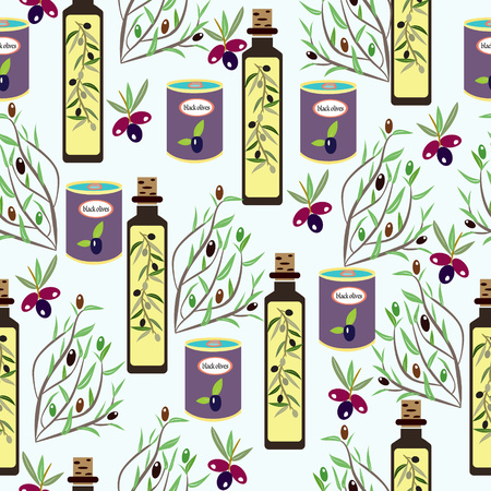 Decorative seamless pattern with ripe olives, olive oil, cans jars, olive tree branches elements vector background