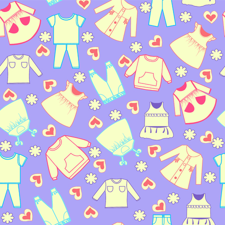 Seamless cheerful bright pattern with Colorful cute cartoon cute background