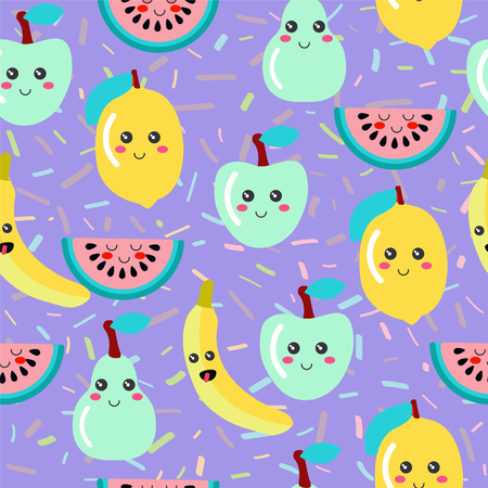 Vector Cute pattern with fruit kawaii on geometric line  background.