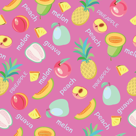 Vector background of fruits peach, guava, melon, pineapple on pink backdrop. Healthy food fruit illustration  for wallpaper, wrapping paper, invitation cards, textile print.