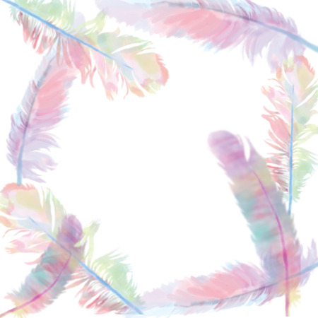 Colorful bird feathers Aquarelle template for frame or border. Watercolor background illustration set Frame border ornament square on white background. Stock fotó