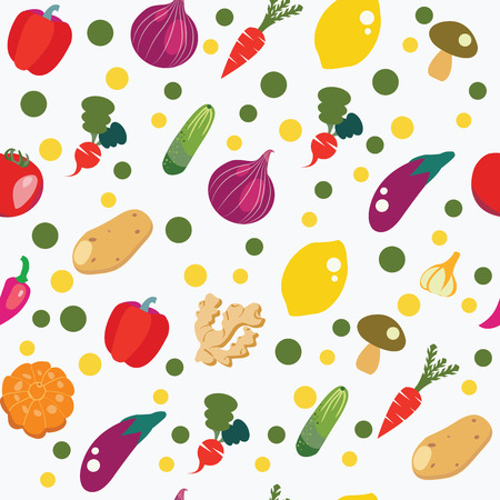 vector pattern of fresh and healthy food. Vegetables background in flat style, pattern seamless healthy food concept.
