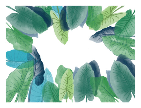 Illustration of botanical foliage Frame isolated. Watercolor background with tropical leaves drawing aquarelle. Frame border ornament square.