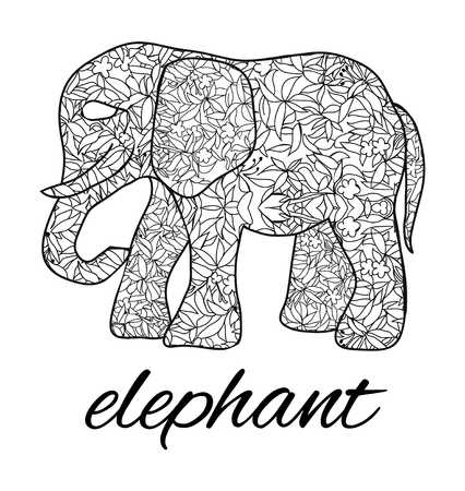 Vector hand drawn ornate elephant. Stylized elephant with decorative botanical ornament illustration isolated on white background for coloring book.
