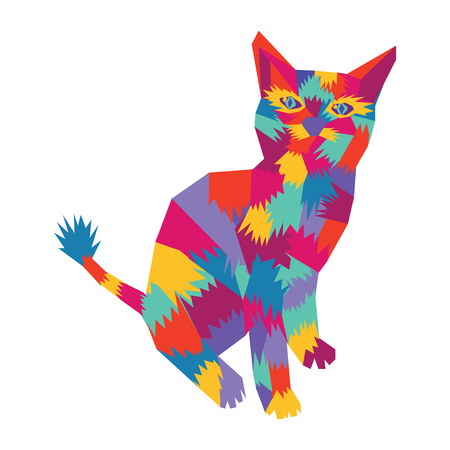 Vector hand drawn cat symbol silhouette geometric pop art style.