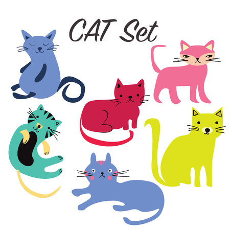 Vector illustration of Set sign cute cats, flat icons funny cartoon style collection.
