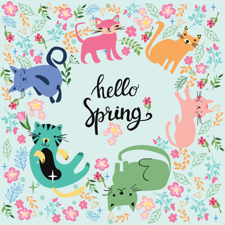 Vector cartoon cute illustration and inscription Hello Spring in circle with cats for greeting card.