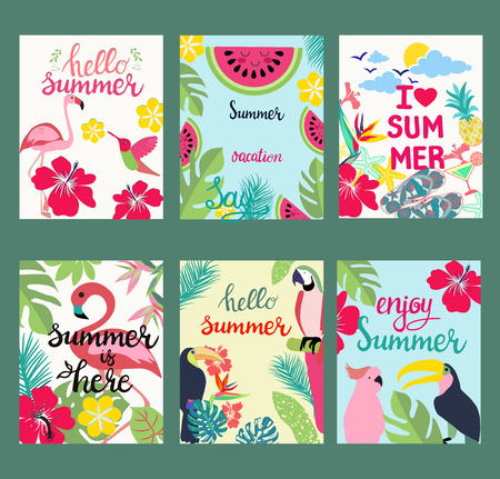 hand-drawn cartoon set of postcards, cards of summer elements, theme of summer holiday, travel, beach and vacation