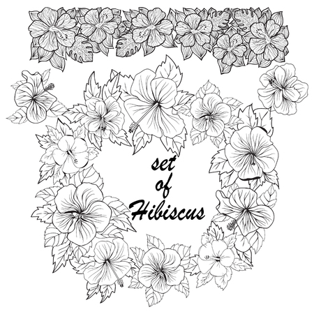 Hand drawn collection of tropical flowers. Set of hibiscus Exotic tropic botany leaves and flowers. Perfect for fabric design. Aloha collection.