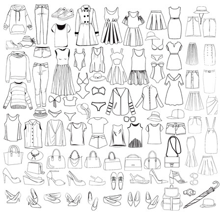 Vector Hand drawn big collection of woman clothes and accessories icons, design elements doodle thin line style.