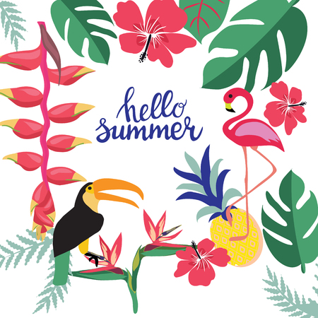 Summer background for banners, flyers, invitation, posters.Vector illustration template with theme of summer holiday, travel, beach and vacation. Illusztráció