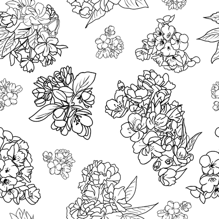 Vector hand drawn pattern of cherry and apple tree blossom and branch sketch design element for invitation card on white background. Illusztráció