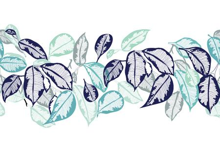 Vector hand-drawn leaves tropical botanical foliage seamless horizontal pattern outline border ribbon, bannerÑŽ Illusztráció