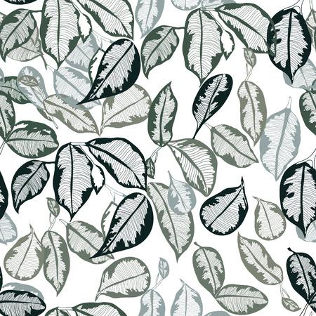 Vector hand-drawn leaves tropical botanical foliage seamless pattern outline border ribbon, banner Illusztráció