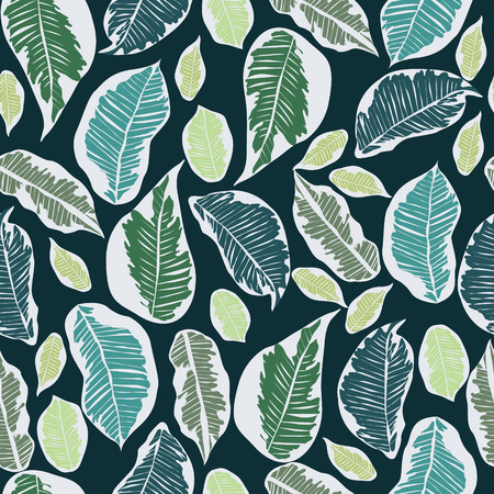 Vector hand-drawn leaves tropical botanical foliage seamless pattern Illusztráció
