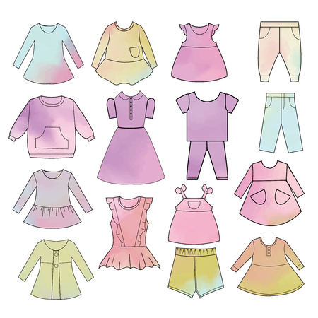 Vector collection of baby and children clothes. Babies fashion collection Hand drawn watercolor backdrop.