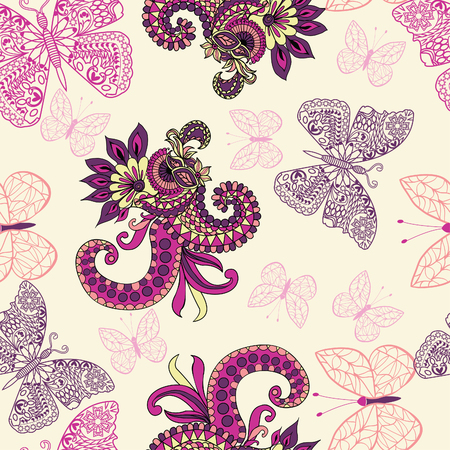 Vector floral seamless pattern with butterflies and Paisley Floral Butterfly abstract background. Illusztráció