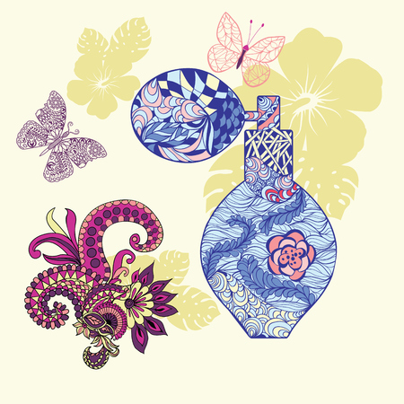 Vector pattern Perfume with decorative ornament. Beautiful Perfume bottle and background with flowers and butterfly for decorate perfume or cosmetic package. Illusztráció
