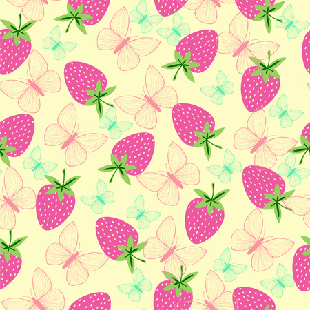 Vector pattern with strawberries and butterfly for wallpapers, pattern fills, web page backgrounds, surface textures, textile. Illusztráció