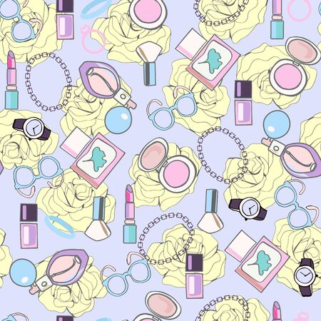 hand drawn pattern with elements of Make Up, beauty cosmetic product, fashion  background for wallpapers, pattern fills, web page, wrapping, textile