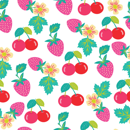Seamless vector pattern with strawberries and cherries. Background with Cherry and strawberry for fabrics, textiles, paper, wallpaper. Summer fruits illustration.