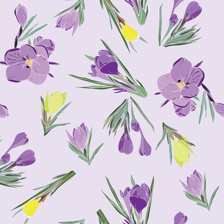 Vector hand-drawn pattern of crocus spring flowers collection violet and yellow on lilac background.